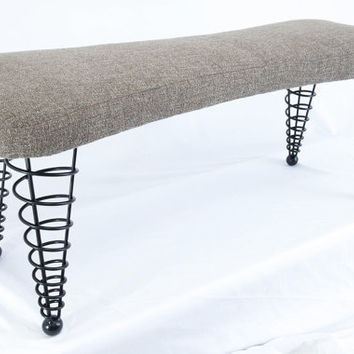 "Modern Handmade Upholstered Bench, Dog bone shape with Spiral Cone Legs, 47"" Length"