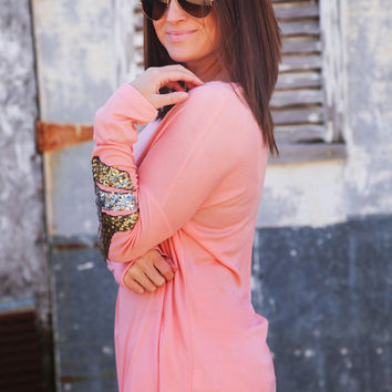 Sequin Chevron Tunic {Blush}