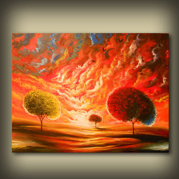 Art painting abstract painting large painting wall art home decor surreal landscape red yellow tree painting folk art Mattsart 22 x 28