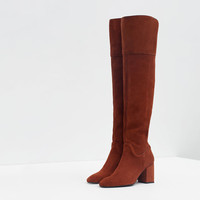 TALL HEELED LEATHER BOOT