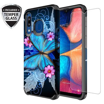 Samsung Galaxy A20 | A30 | A50 Case, [Included Tempered Glass Screen Protector] Slim Hybrid Dual Layer Shockproof Cover for Galaxy A20/A30/A50 - Blue Butterfly
