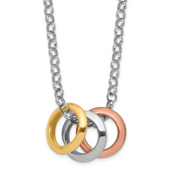 925 Sterling Silver Rhodium Plated, Yellow GP and Rose GP, 3 Circle Necklace