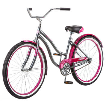 Ladies 1-Speed Beach Cruiser Bike in Pink & Grey
