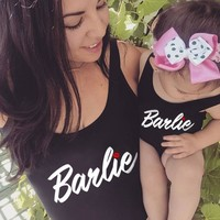 Mother and Daughter Barbie Red Mouth One Piece Swimsuit Mommy&Babe Swimwear Mom Kid Family Matching Outfits Bathing Suits Bikini