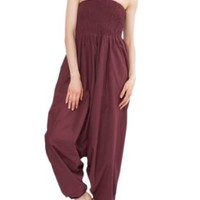 2 in 1 Convertible Cotton Maxi Harem Pants and Jumpsuit