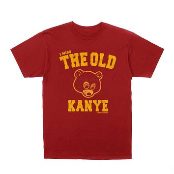 Kanye West I Miss The Old Kanye College Dropout T-shirt + Hip-Hop Stickers Short Sleeves New Fashion T Shirt Men Clothing