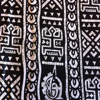 African Wax Print Fabric by the Half  Yard. Black, White, Olive Green Dogon Print--Made in Mali