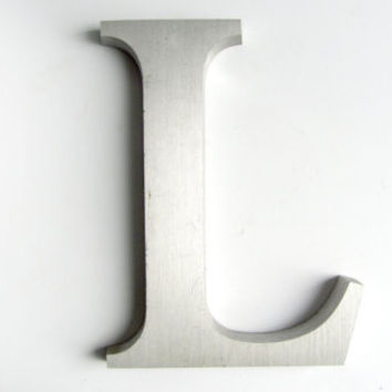 Industrial Metal Letter L Serif Typeface Wall Art