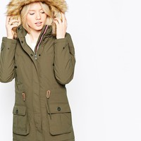 Puffa Laguna Parka With Faux Fur Hood