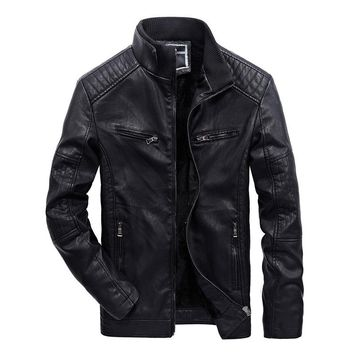 Winter Stand Collar Lining Leather Overcoat Casual Warm Biker Jacket Men