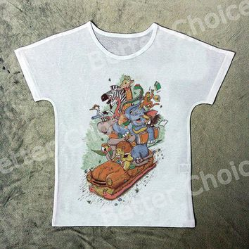 Track Ship+Rock&Roll Punk T-shirt Top Tee Forest Animal Friend Playing Wood Car After School 1325