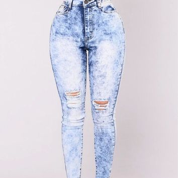 Super High Waisted Skinny Jeans: Classic Acid Wash Elastic Stretch Skinny Jeans