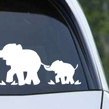 Elephant with Baby Silhouette Die Cut Vinyl Decal Sticker