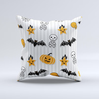 Halloween Icons Over Gray White Striped Surface  ink-Fuzed Decorative Throw Pillow