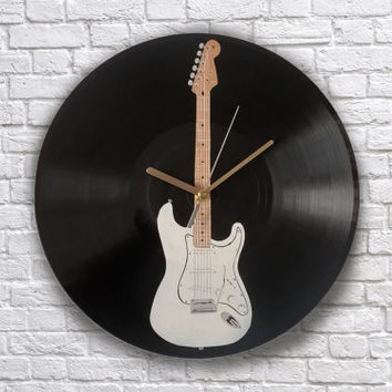 Electric guitar painted vinyl record clock. Fender Stratocaster
