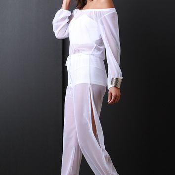 Semi-Sheer Mesh Long Sleeves Jumpsuit