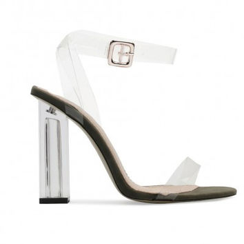 Strappy Lucite Clear Heels Olive Green