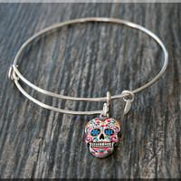 Silver Sugar Skull Expandable Bangle Bracelet, Adjustable Bangle Bracelet, Stacking Charm Bracelet, Painted Sugar Skull Bangle