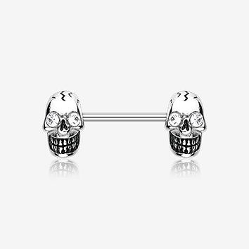 A Pair of Luster Skull Nipple Barbell Ring