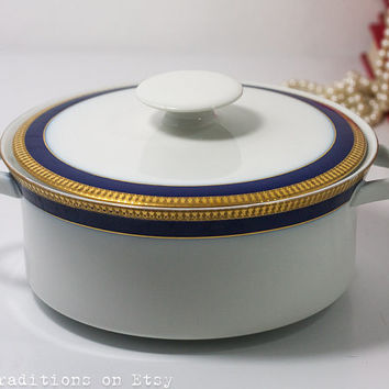 Porcelain Tureen Soup Serving, Vintage Serving Dish in White, Gold & Blue Shades, Covered Bowl for Pasta, Marked Thomas Germany