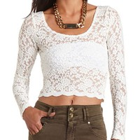 Scalloped Lace Crop Top: Charlotte Russe