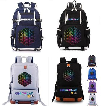 Coldplay Backpack Rock band Backpack Anime Luminous Teenagers Men Women's Student Cartoon School Bags Casual Backpack