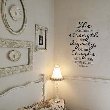 Proverbs 31:25 Strength and Dignity Vinyl Wall Art Decal
