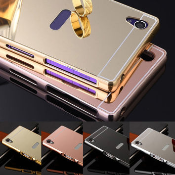 Luxury Aluminum Metal Mirror PC Back Cover Phone Cases For Sony Xperia X XA Ultra XP Z5 Premium Z4 Z3 Z2 Z1 Compact M5 M4 C3 C6