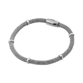 .925 Sterling Silver Rhodium Plated Thin Beaded Italian Bracelet
