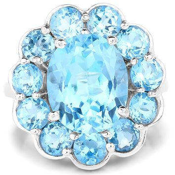 A Special Edition 8.77CT Natural Swiss Blue Topaz Floral Halo Ring