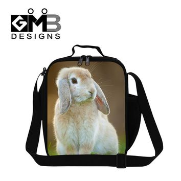 Kids Cute Rabbit 3D Print Lunch Bag For Boys Girls Lunchbag Children Shoulder Picnic Bags Cat Dog Lion Animal Insulted Lunchbox