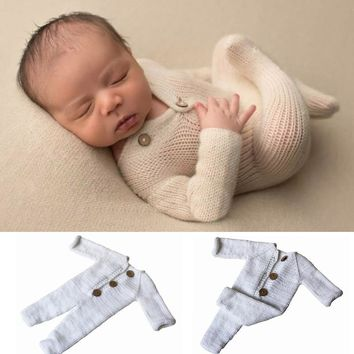 Woolen Knitted Baby Photo Shoot Clothes White Rompers Infant Boy Girl Pictures Clothing Outfits Jumpsuit Autumn Winter Warm