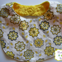 Sophisticated Yellow & Grey Flowers Baby Girl Reversible Bib