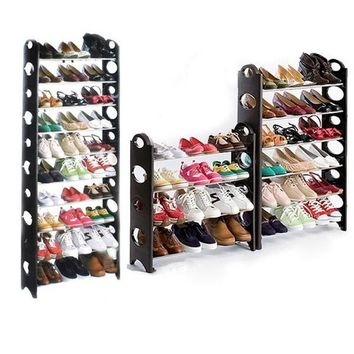 Fashion Online 50/30pair Shoe Rack Free Standing Adjustable Organizer Space Saving 10 Tier D_l - 1946537604