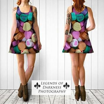 Conversation Hearts Dress - slim and flared styles, candy wearable art, fine photograp