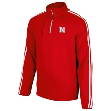adidas Nebraska Cornhuskers Primary Logo Three-Stripe Quarter Zip Jacket - Scarlet