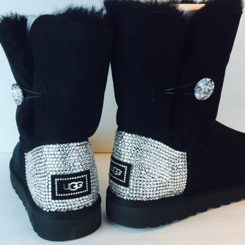 Bailey Button Bling Uggs Custom With Swarovski Elements: Free Shipping, Repair Kit, Cleaning Kit, Crystal Color, 48 hr Turnaround