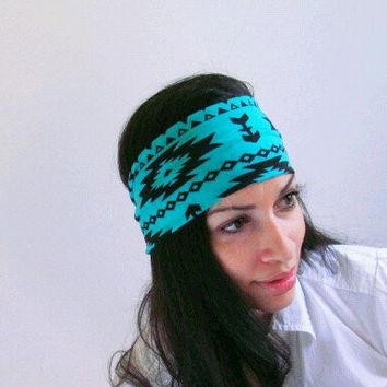 Turquoise Aztec Tribal Boho Hippie Head wrap by JLeeJewels on Etsy