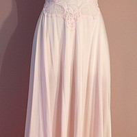 Olga Gown: 70s Pink Stretch Lace Nightgown 32 34 S