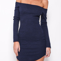 Navy Blue Off-Shoulder Long Sleeve Mini Dress
