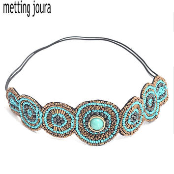Metting Joura vintage bohemian ethnic turquoise seed beads braided flower  elastic headband hair band hair accessories