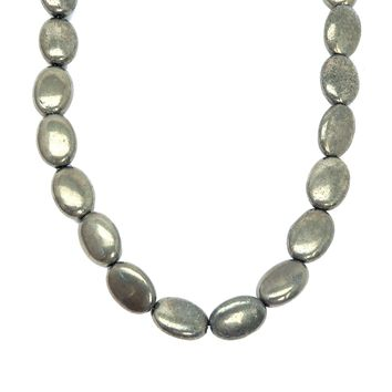 Pyrite Necklace 07 - Oval Beaded Fools Gold Stone