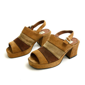 Vintage 70's 80's Real Suede Brown Beige Chunky Heel Platform Sandals, Leather Slingbacks, Boho Chunky Open Toe Mules - EUR 39/ US 8.5/ UK 6