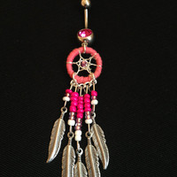 Bright pink sparkly unique beautiful dreamcatcher belly button ring