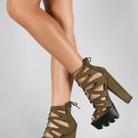 Wild Diva Lounge Caged Contrasting Lug Sole Platform Chunky Heel