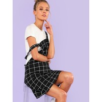 Bib Pocket Front Grid Pinafore Dress