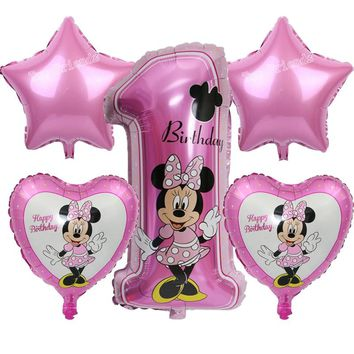 Mickey Minnie number ballon baby shower 1st birthday party foil balloons cartoon Minnie mouse party supplies helium lovely toys