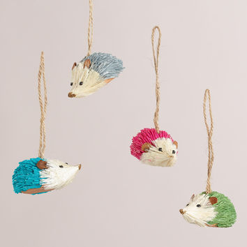 Paper and Natural Fiber Hedgehog Ornaments, Set of 4 - World Market