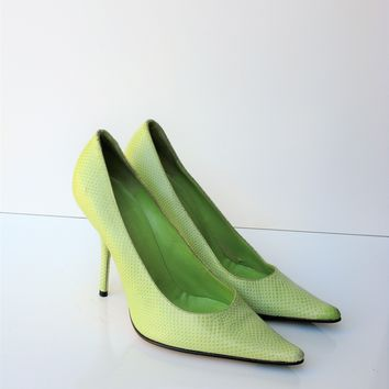 Vintage Calvin Klein Made In Italy Lime Green Pointed Pumps 8.5