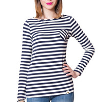 Amour Vert Coco Boat Neck Shirt - Navy Stripe